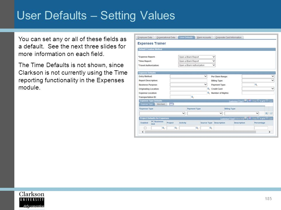 User Defaults – Setting Values