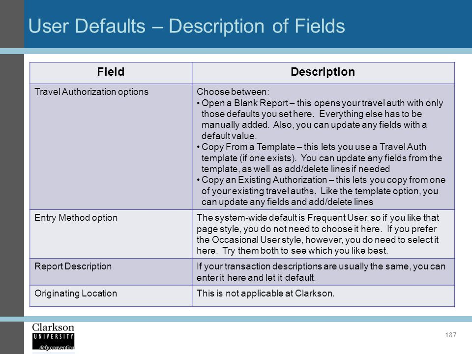 User Defaults – Description of Fields