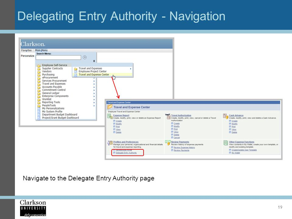Delegating Entry Authority - Navigation
