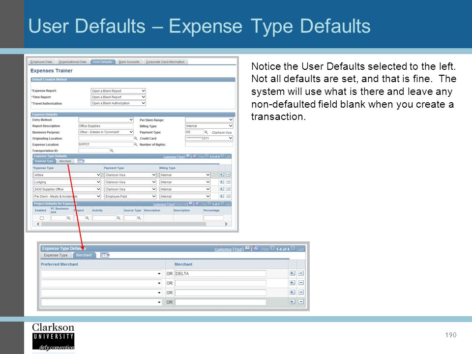 User Defaults – Expense Type Defaults