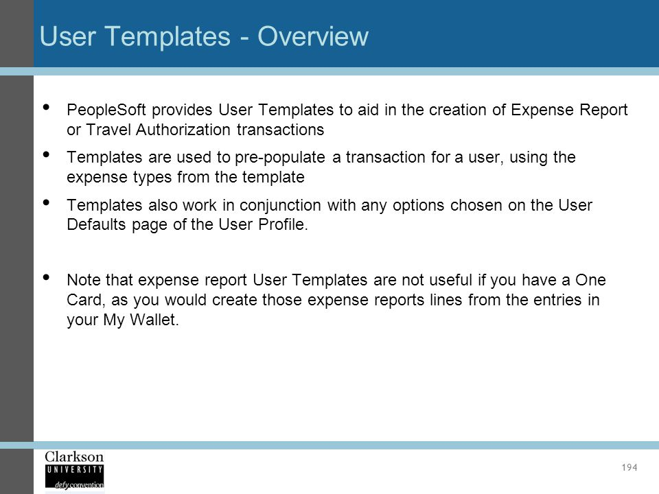User Templates - Overview