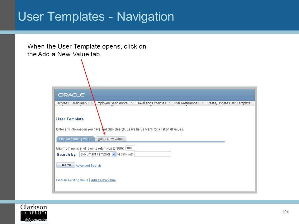 User Templates - Navigation