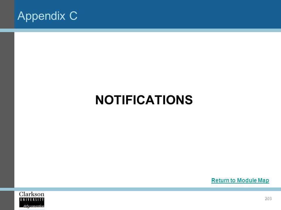 Appendix C NOTIFICATIONS Return to Module Map 203