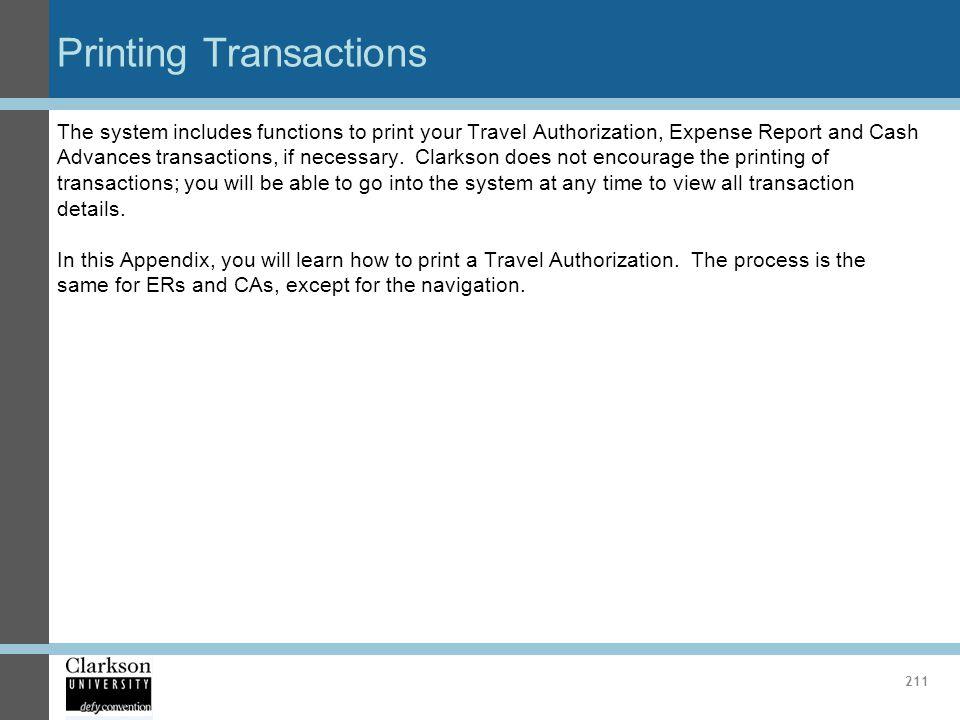 Printing Transactions