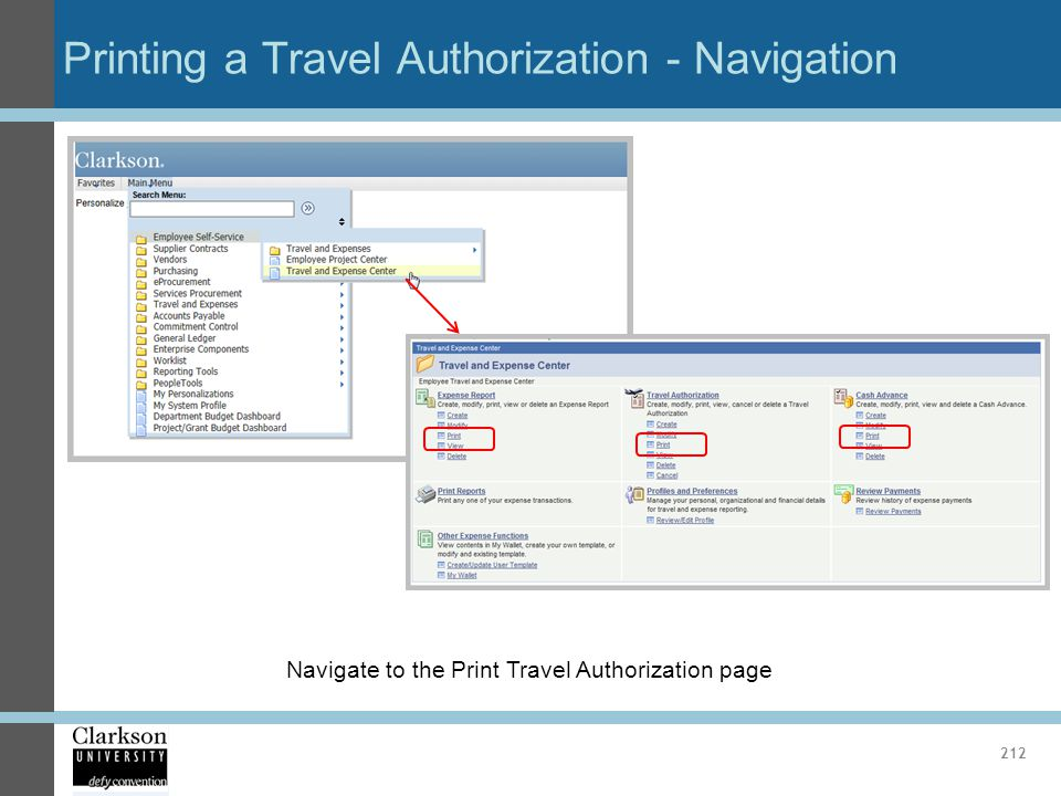 Printing a Travel Authorization - Navigation