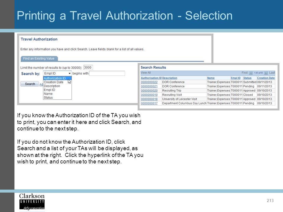 Printing a Travel Authorization - Selection
