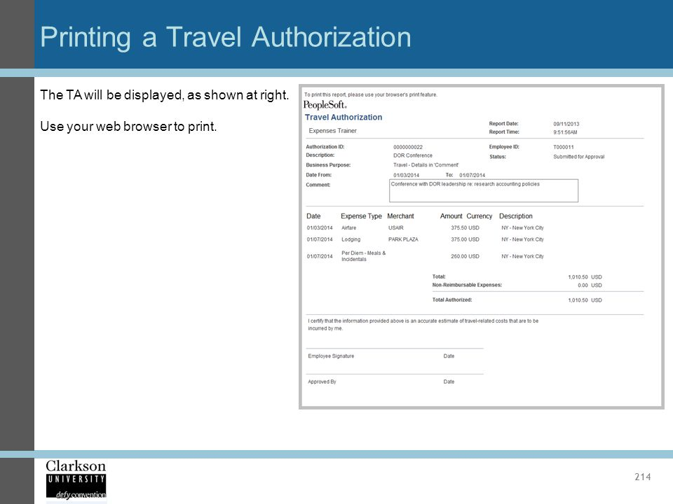 Printing a Travel Authorization