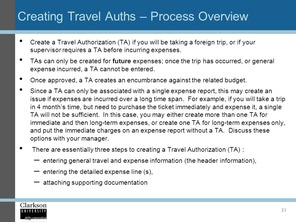 Creating Travel Auths – Process Overview