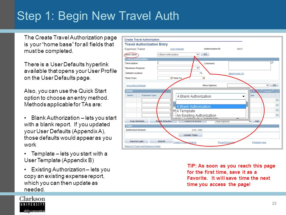Step 1: Begin New Travel Auth