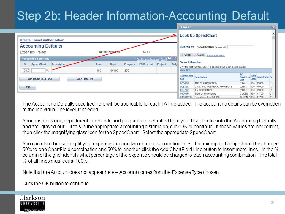 Step 2b: Header Information-Accounting Default