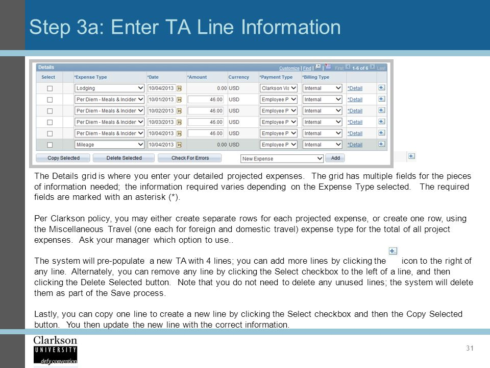 Step 3a: Enter TA Line Information