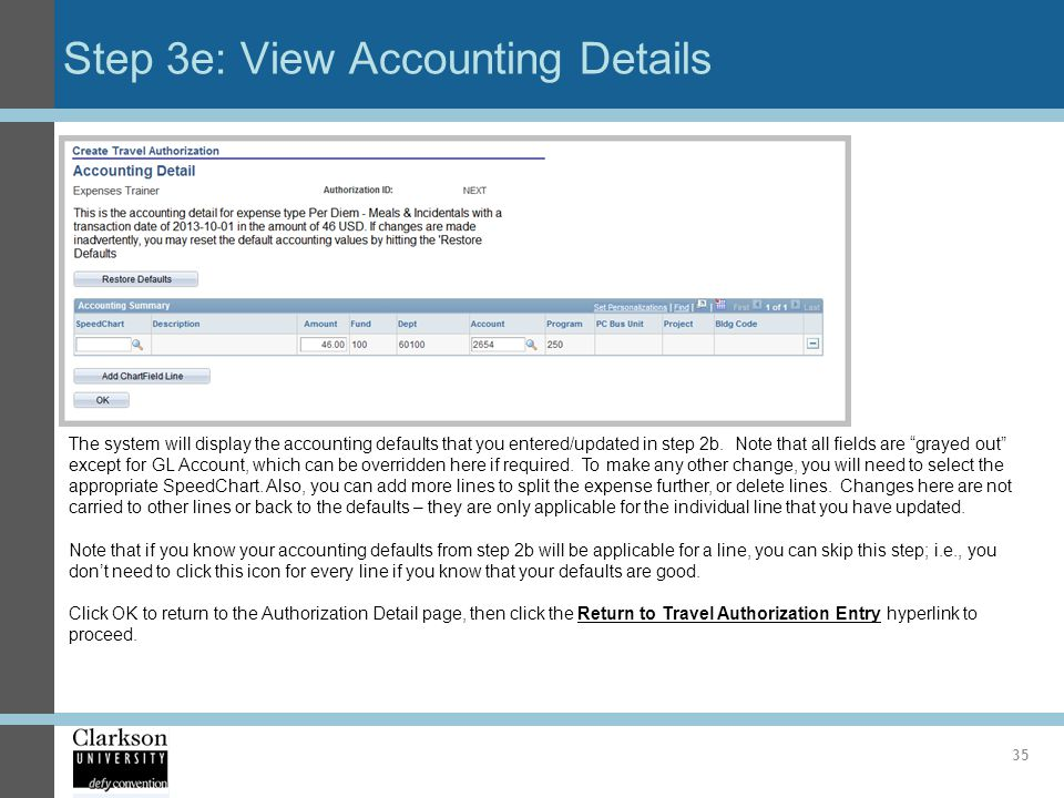 Step 3e: View Accounting Details