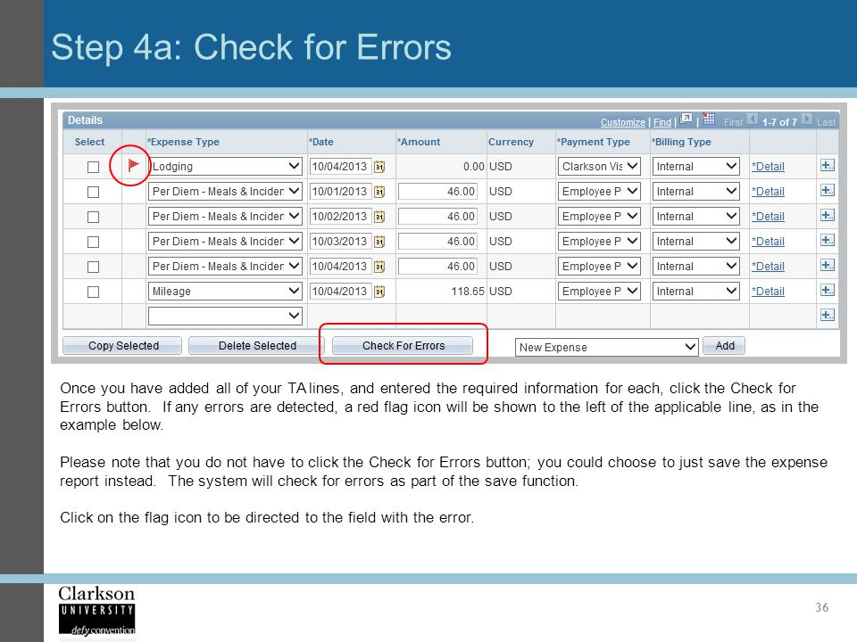 Step 4a: Check for Errors