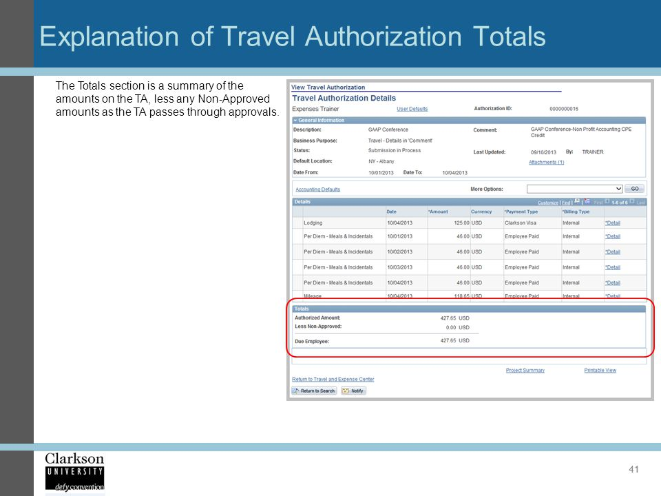 Explanation of Travel Authorization Totals
