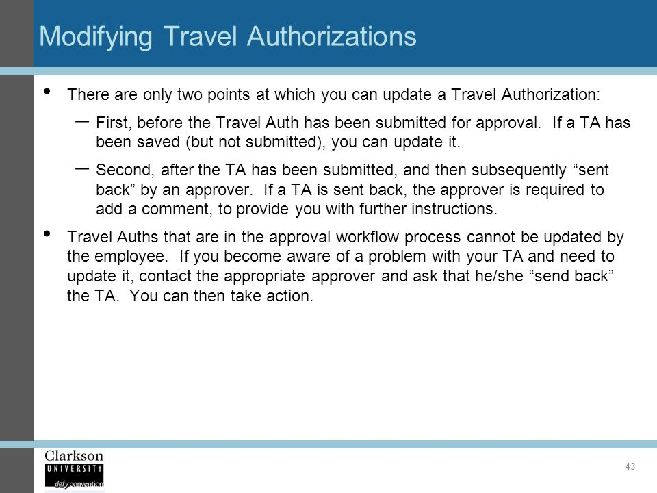 Modifying Travel Authorizations