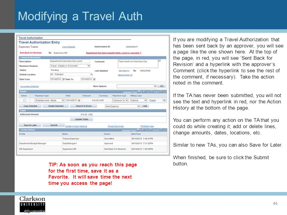 Modifying a Travel Auth