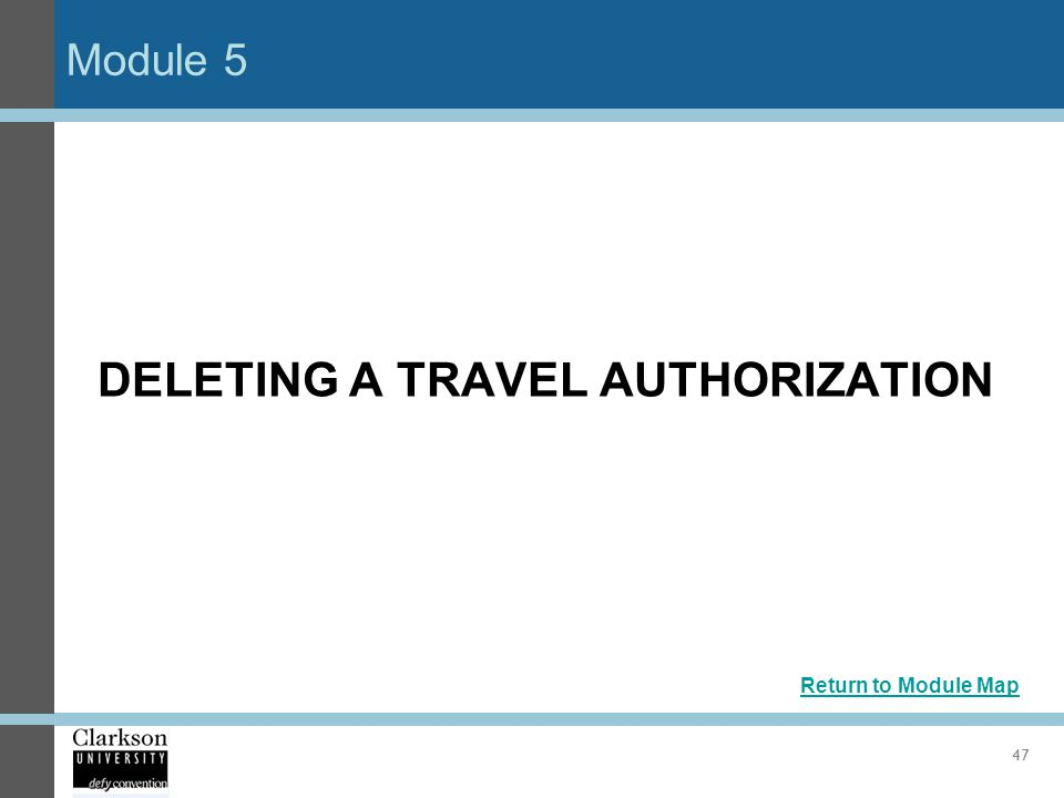 DELETING A TRAVEL AUTHORIZATION