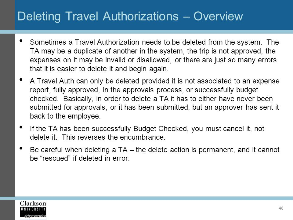 Deleting Travel Authorizations – Overview
