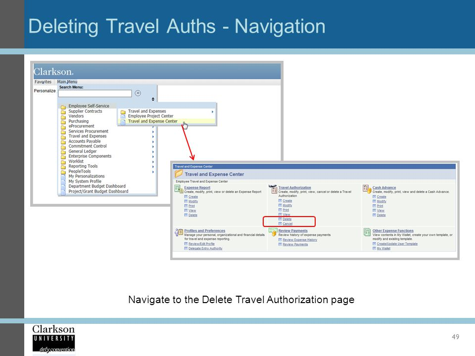 Deleting Travel Auths - Navigation
