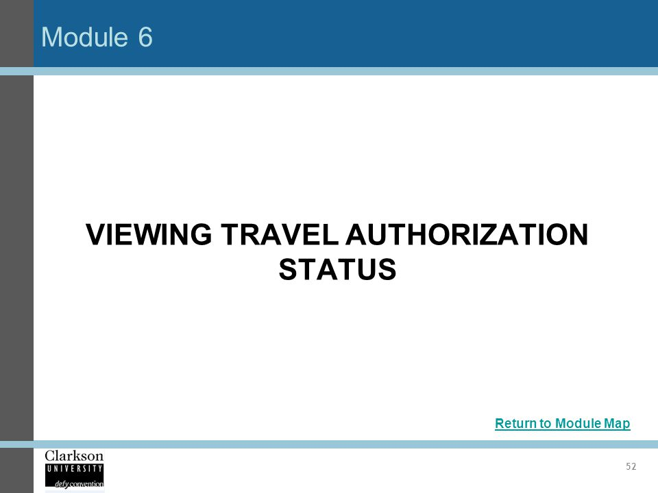 VIEWING TRAVEL AUTHORIZATION STATUS