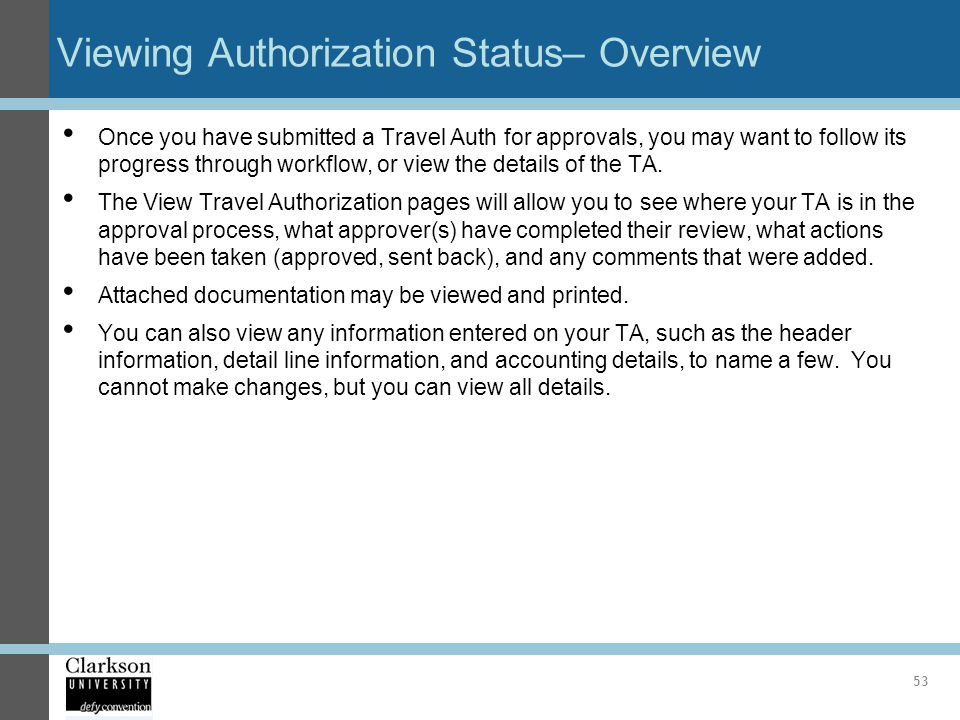 Viewing Authorization Status– Overview