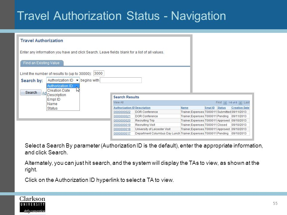 Travel Authorization Status - Navigation