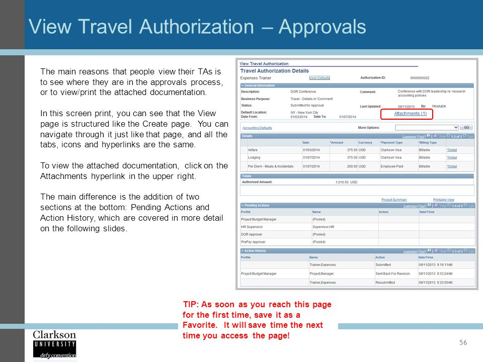 View Travel Authorization – Approvals