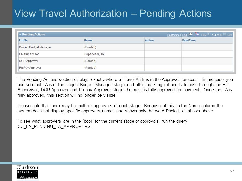 View Travel Authorization – Pending Actions