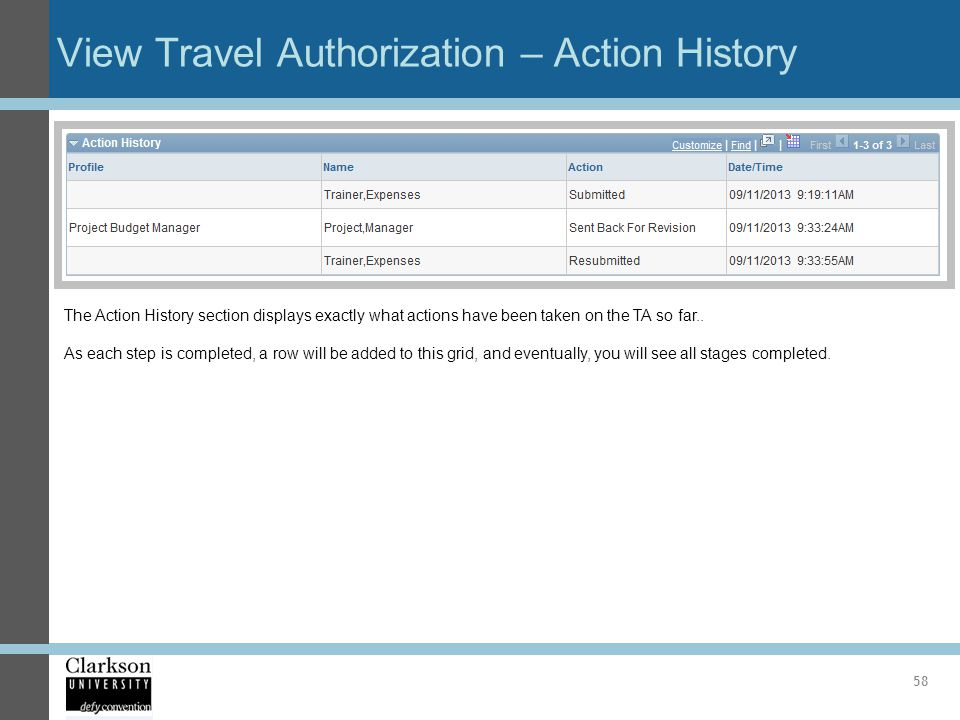 View Travel Authorization – Action History