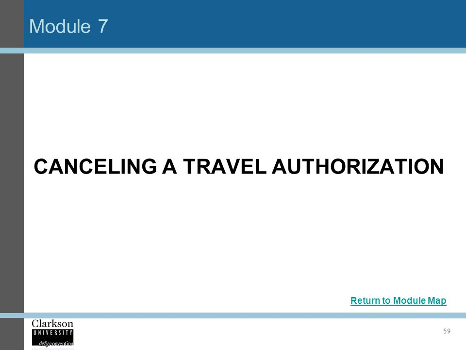 CANCELING A TRAVEL AUTHORIZATION