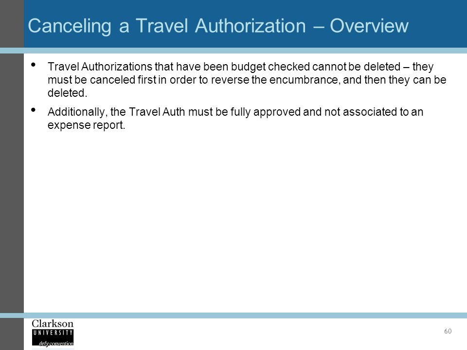 Canceling a Travel Authorization – Overview