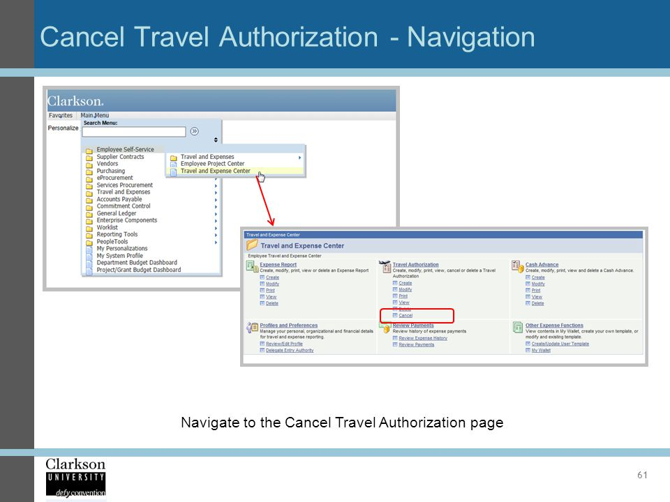 Cancel Travel Authorization - Navigation