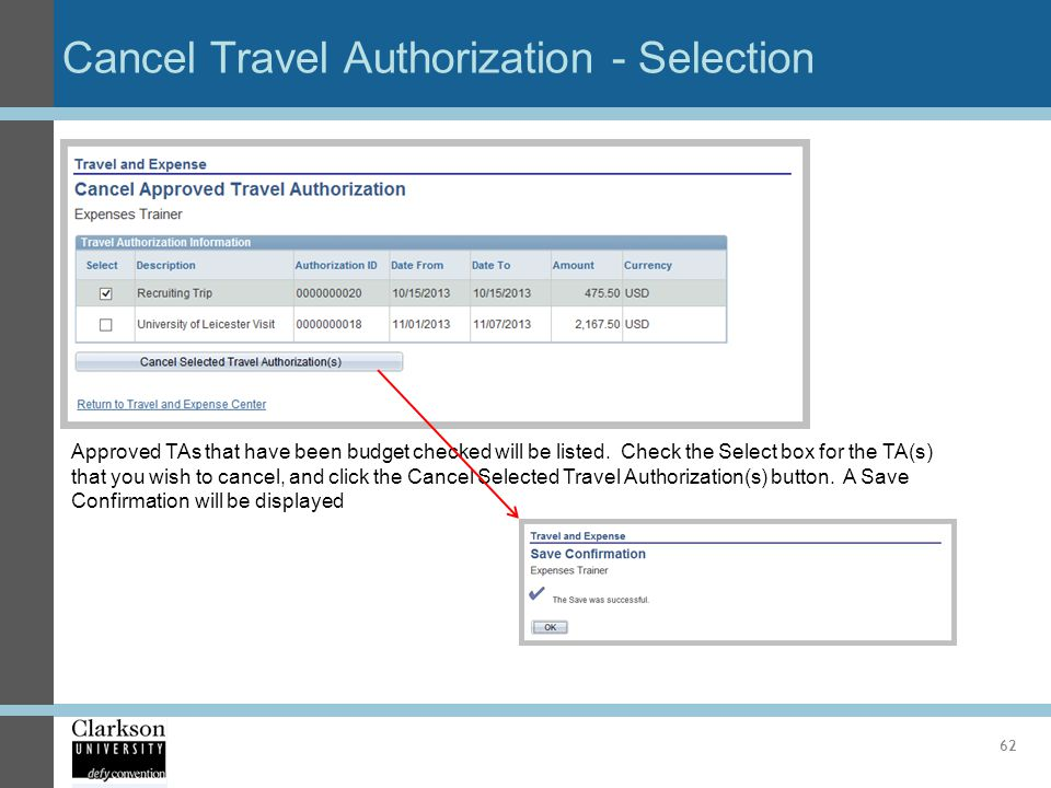 Cancel Travel Authorization - Selection