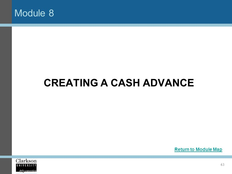CREATING A CASH ADVANCE