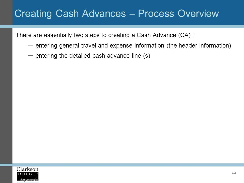 Creating Cash Advances – Process Overview