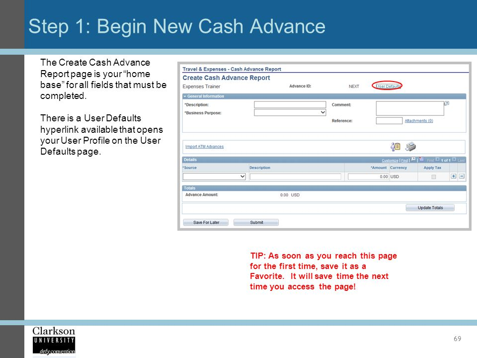 Step 1: Begin New Cash Advance