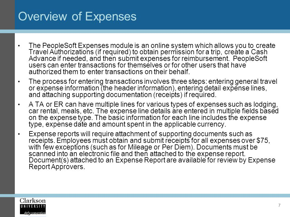 Overview of Expenses
