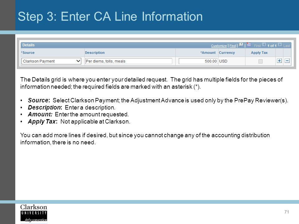 Step 3: Enter CA Line Information