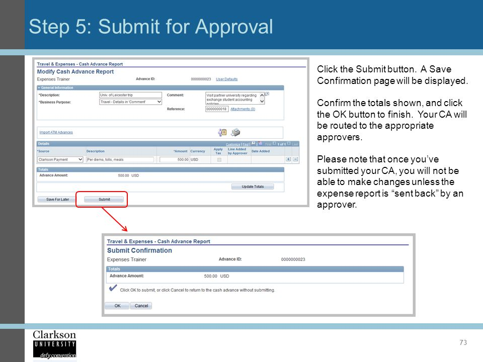 Step 5: Submit for Approval