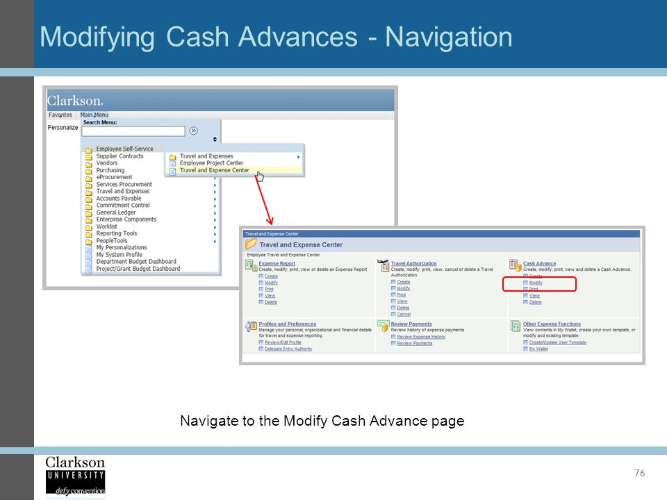 Modifying Cash Advances - Navigation