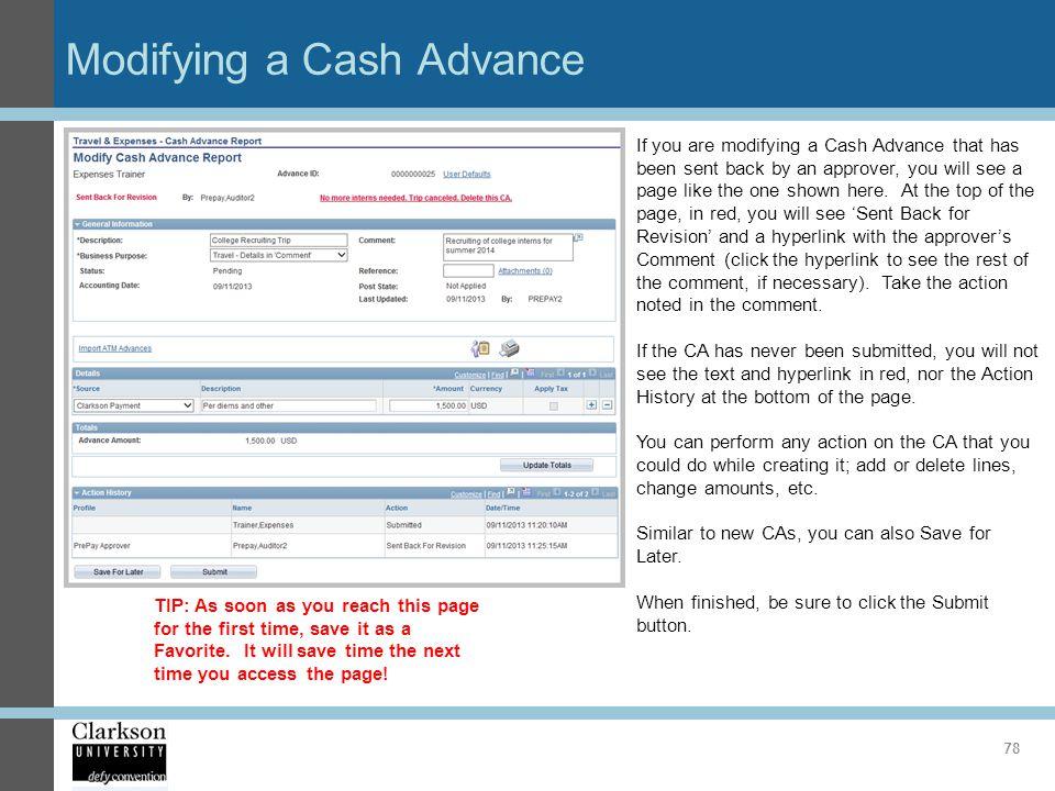 Modifying a Cash Advance