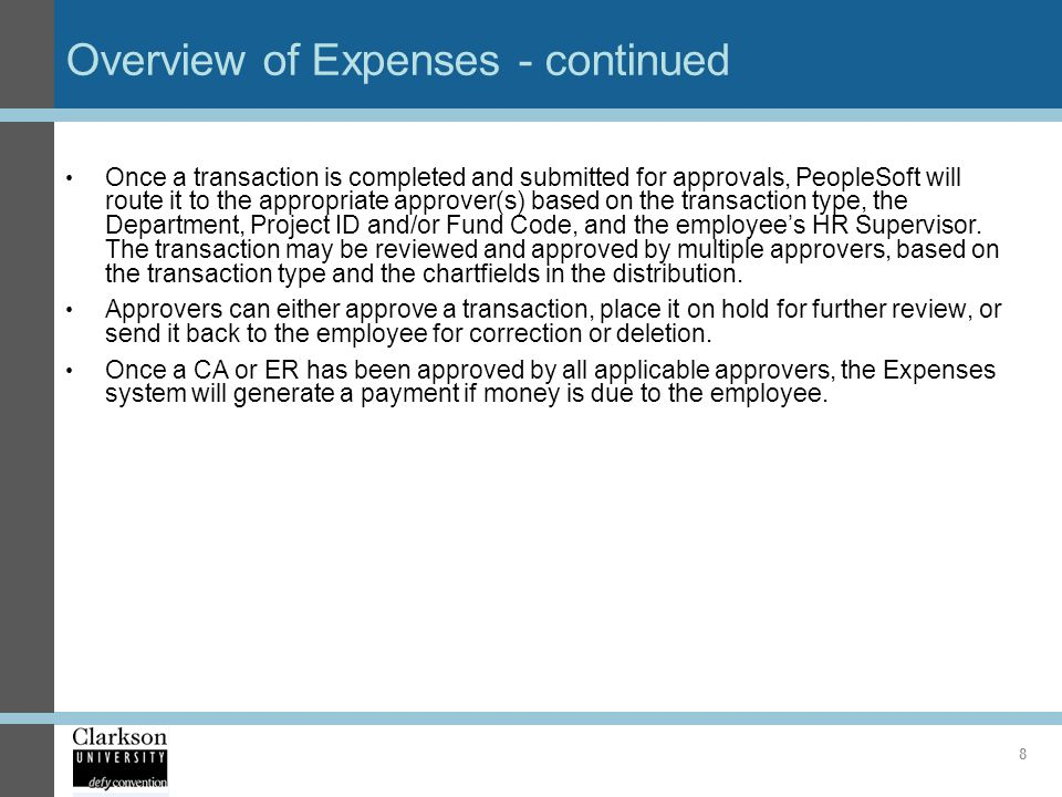 Overview of Expenses - continued