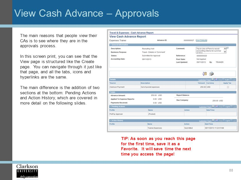 View Cash Advance – Approvals