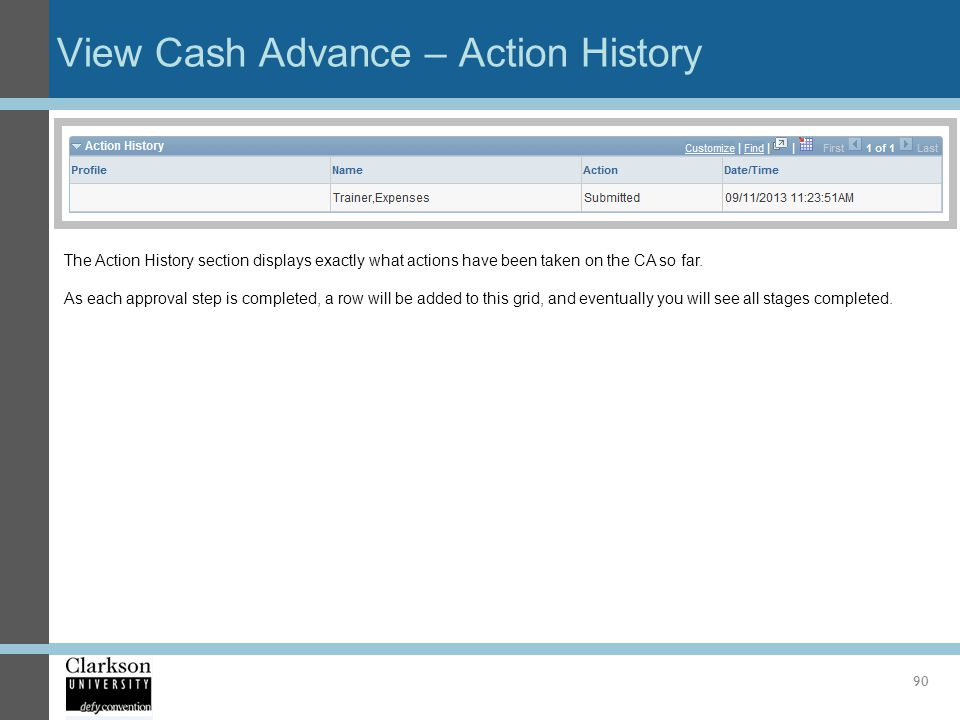 View Cash Advance – Action History