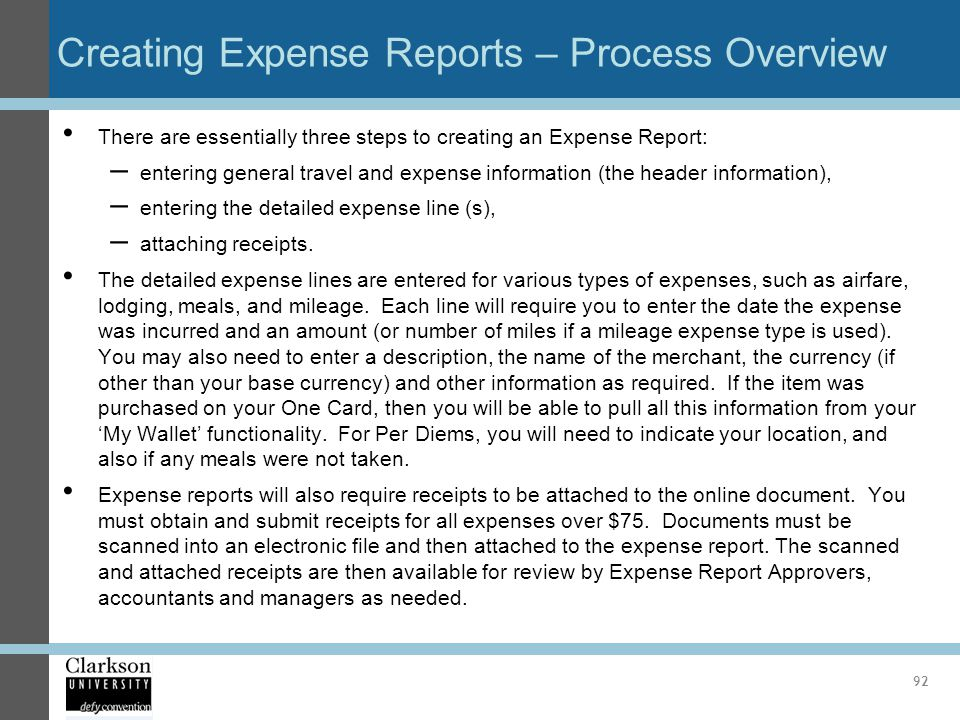 Creating Expense Reports – Process Overview