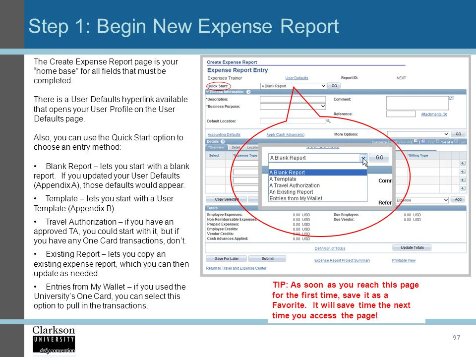 Step 1: Begin New Expense Report