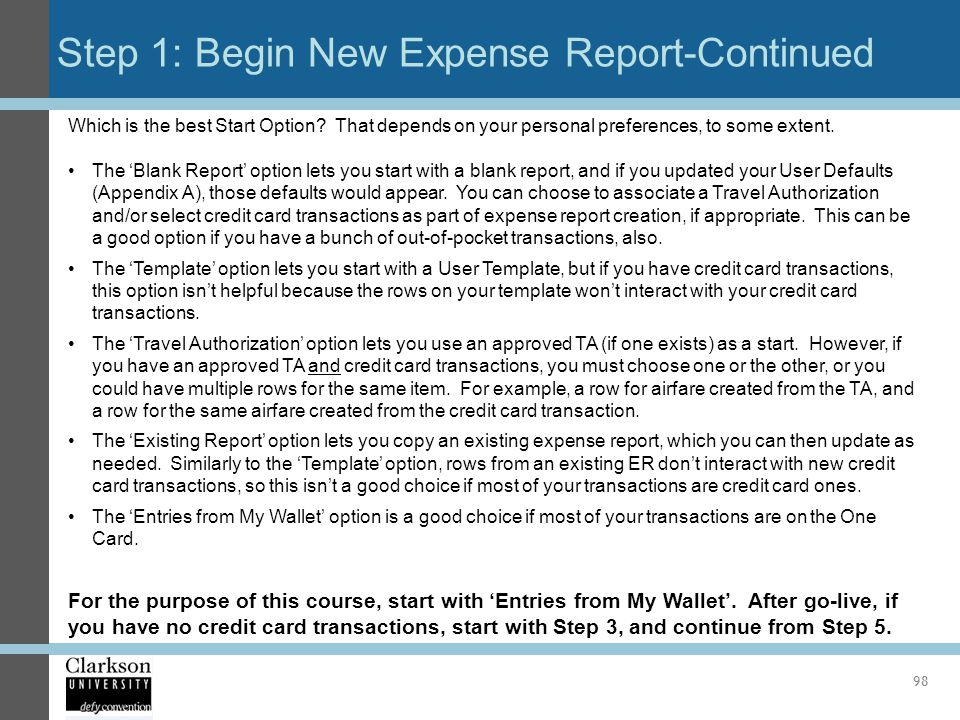 Step 1: Begin New Expense Report-Continued
