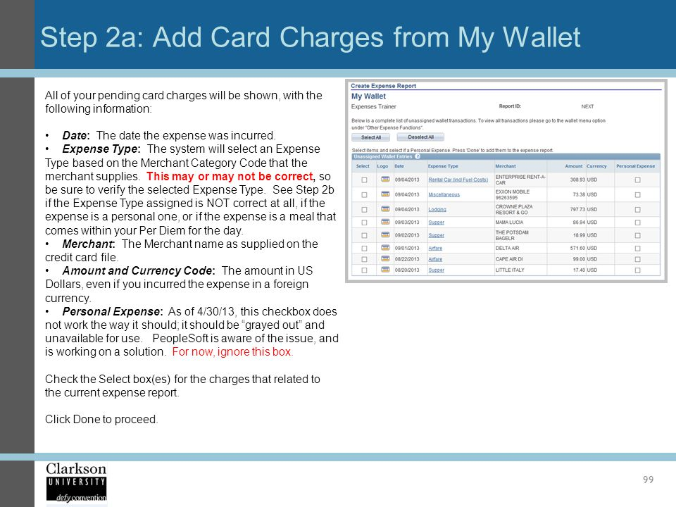 Step 2a: Add Card Charges from My Wallet
