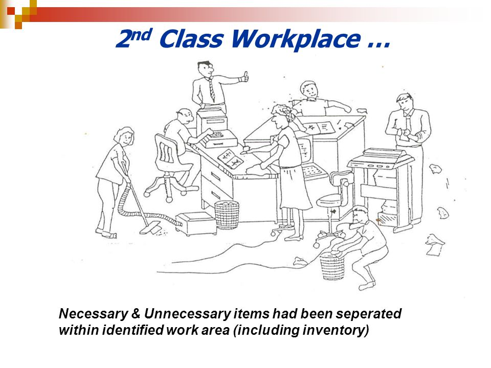 2nd Class Workplace … Necessary & Unnecessary items had been seperated within identified work area (including inventory)