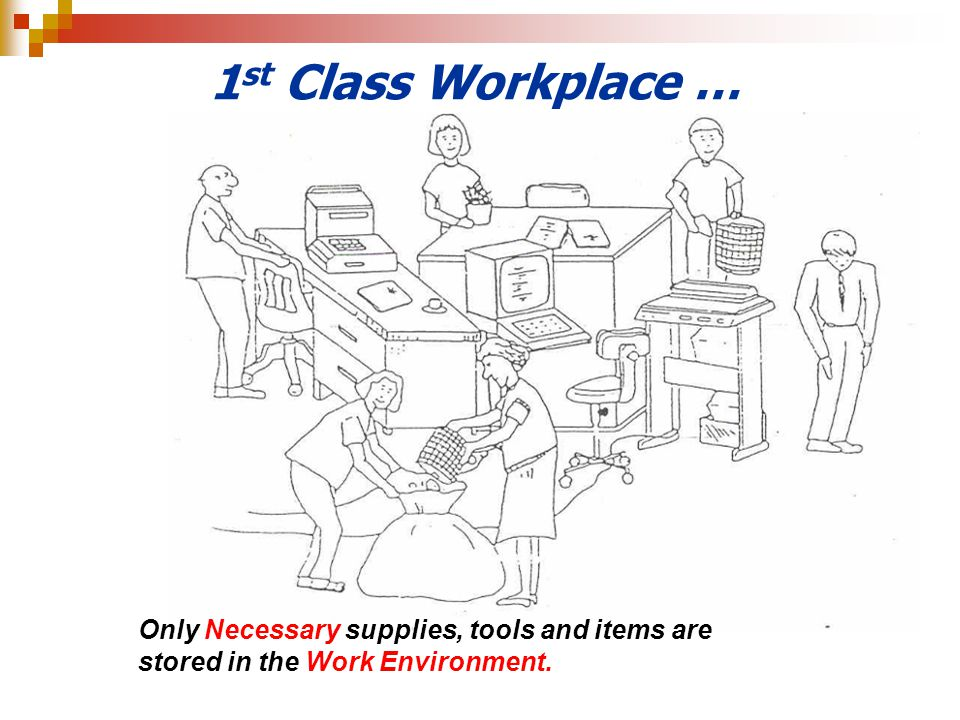 1st Class Workplace … Only Necessary supplies, tools and items are stored in the Work Environment.